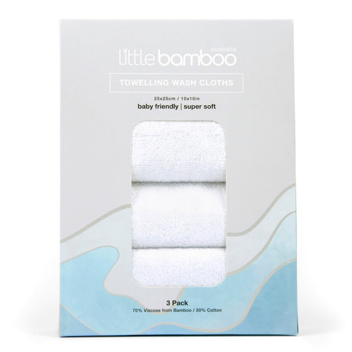 Little Bamboo - Towelling Washer 3-pack Super Soft Natural
