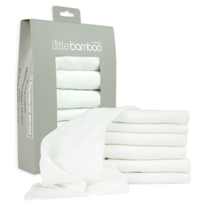 Little Bamboo Muslin Baby Washers 6 pack Natural