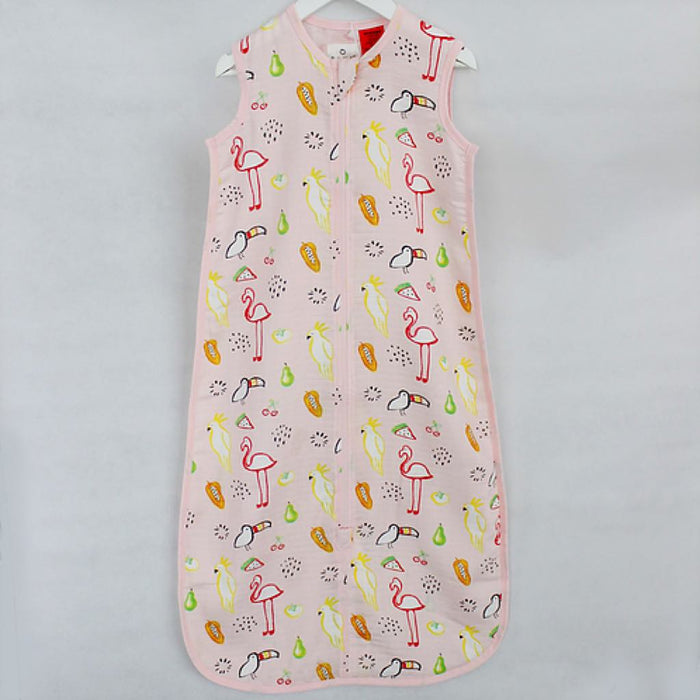 Plum - 0.5 tog Sleepbag 100% Bamboo Muslin with Room Thermometer Watercolour Paradise