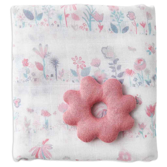 Weegoamigo - Holey Rattle Flower Muslin Swaddle Garden Floral