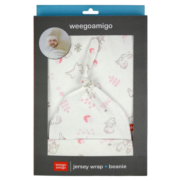 Weegoamigo Jersey Wrap and Beanie Set Floss 100% Cotton