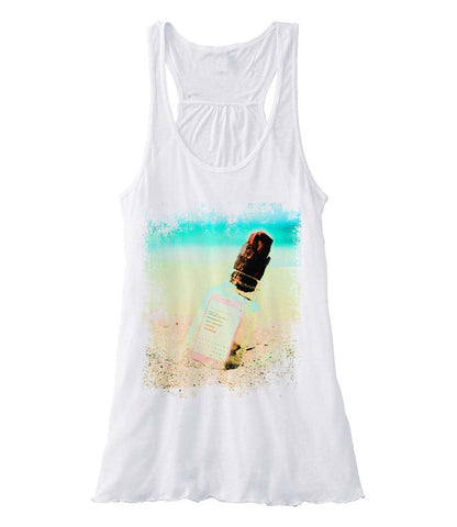 Text Message in A Bottle - Racerback (White)