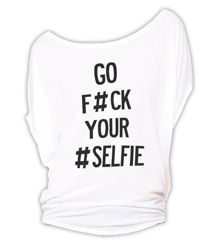 F#ck Your #Selfie - Circle Top (White)