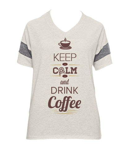 Keep Calm and Drink Coffee - Powder Puff Tee (Grey & Stone)