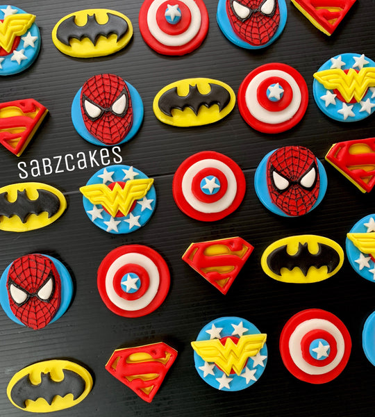 Edible Marvel Avengers / DC comics inspired Superheroes themed fondant cupcake toppers - Set of 12