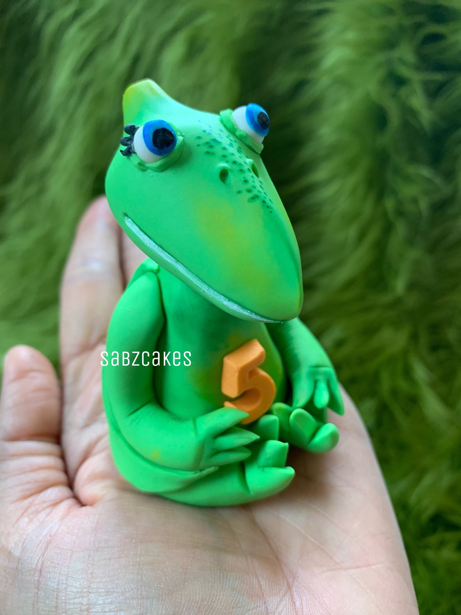 Edible fondant 3D Pterodactyl dinosaur figurine inspired from Dinosaur Train cake topper