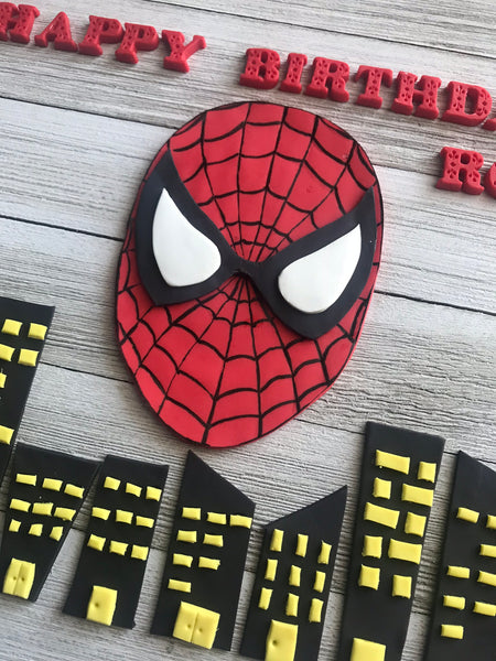 Complete set of fondant Superhero Spiderman / Batman themed Personalized cake toppers