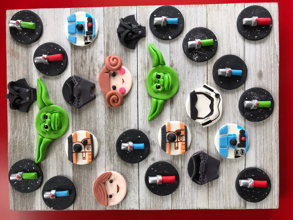 Edible fondant STAR WARS inspired themed cupcake toppers - Set of 12