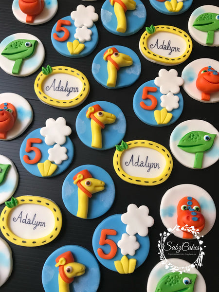 Edible Dinosaur Train inspired themed Trex / Pterodactyl dinosaur mixed fondant cupcake toppers - Set of 12