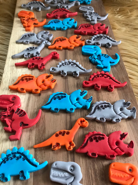 Edible Fondant Dinosaur Birthday Cake / Cupcake toppers - Set of 12