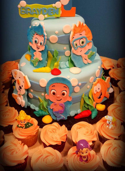 Set of 3 Edible Fondant Sugarpaste Bubble Guppies UNDERWATER Mermaid themed Birthday Cake topper set