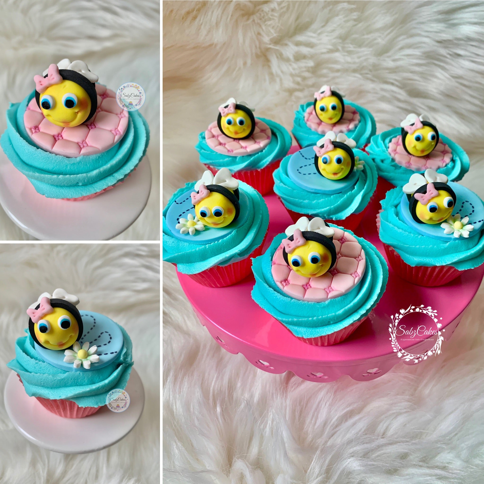 Bee Cupcake Toppers Set of 12