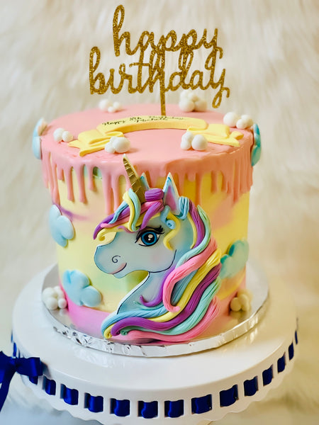 Fondant Unicorn Birthday cake topper  and Set of 8 Fondant Clouds