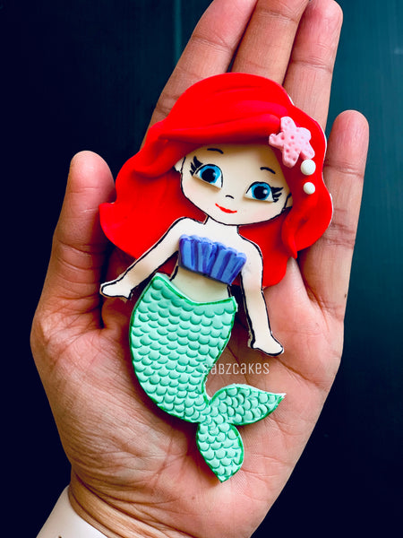 Edible fondant sugar Disney inspired Little Mermaid 2D cake topper