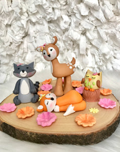 Set of 4 Woodland animals Birthday /Baby Shower /Christening Fondant Cake topper set