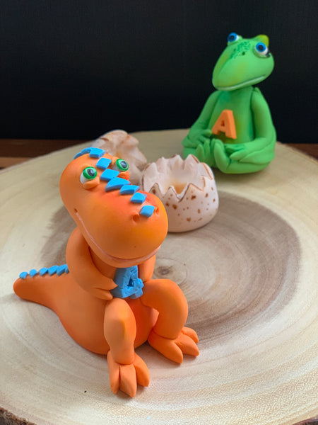 Edible fondant 3D Buddy TRex dinosaur inspired from Dinosaur Train birthday cake topper
