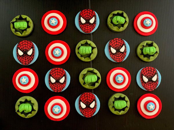 Edible Spider-Man / Captain America / Hulk inspired SUPERHERO themed mixed fondant cupcake toppers - Set of 12