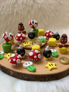 One Dozen Super Mario inspired 2D/3D gaming cake or cupcake toppers
