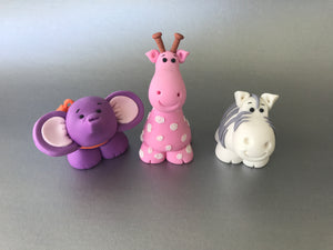 Edible fondant set of 3 standing Safari animals cake toppers