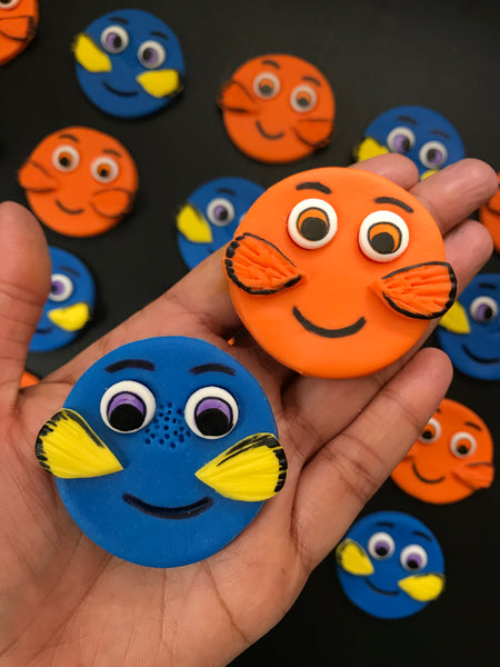 Finding Nemo inspired Dory / Nemo edible fondant cupcake toppers - Set of 12