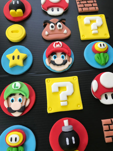 One Dozen Super Mario inspired gaming fondant cupcake toppers