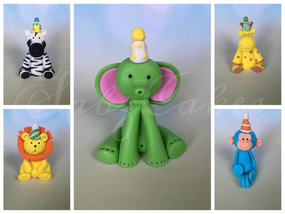 5 Fondant Safari animals with Party hats Birthday / Baby shower /Christening cake toppers