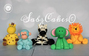 Edible Fondant set of 5 Safari animal Birthday / Baby shower /Christening cake toppers