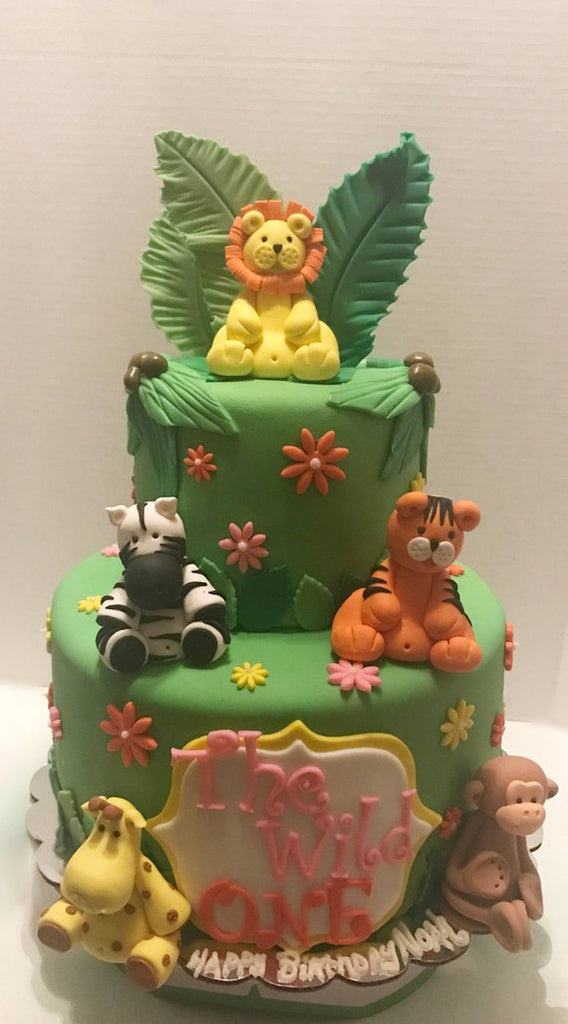 Edible Fondant Set Of 5 Safari Animal Birthday Baby Shower Christening Cake Toppers