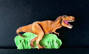 Edible fondant Jurassic World inspired 2D TRex dinosaur Birthday cake topper