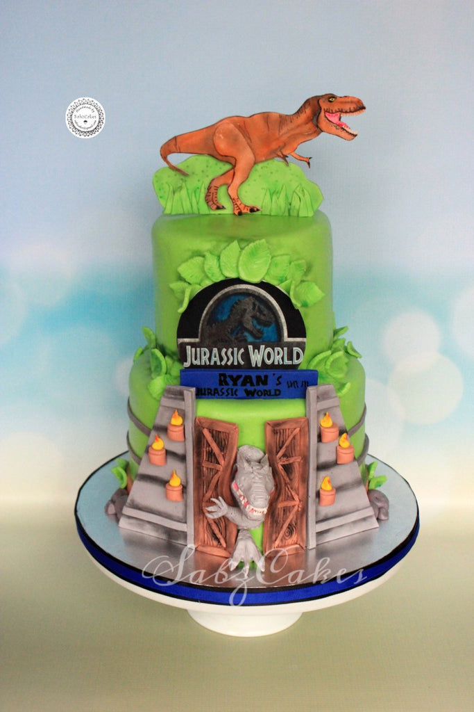 Terrific Edible Fondant Jurassic World Inspired 2D Trex Dinosaur Birthday Personalised Birthday Cards Paralily Jamesorg