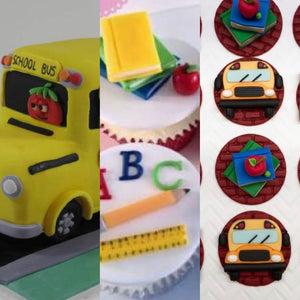 Custom reserved listing for Bus cake topper and 24 bus/school themed cupcake toppers