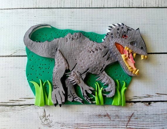 Edible Indominus Rex Dinosaur inspired from Jurassic World sugar fondant Birthday cake topper