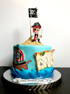 Complete set of fondant Pirate themed Personalized cake decorating set