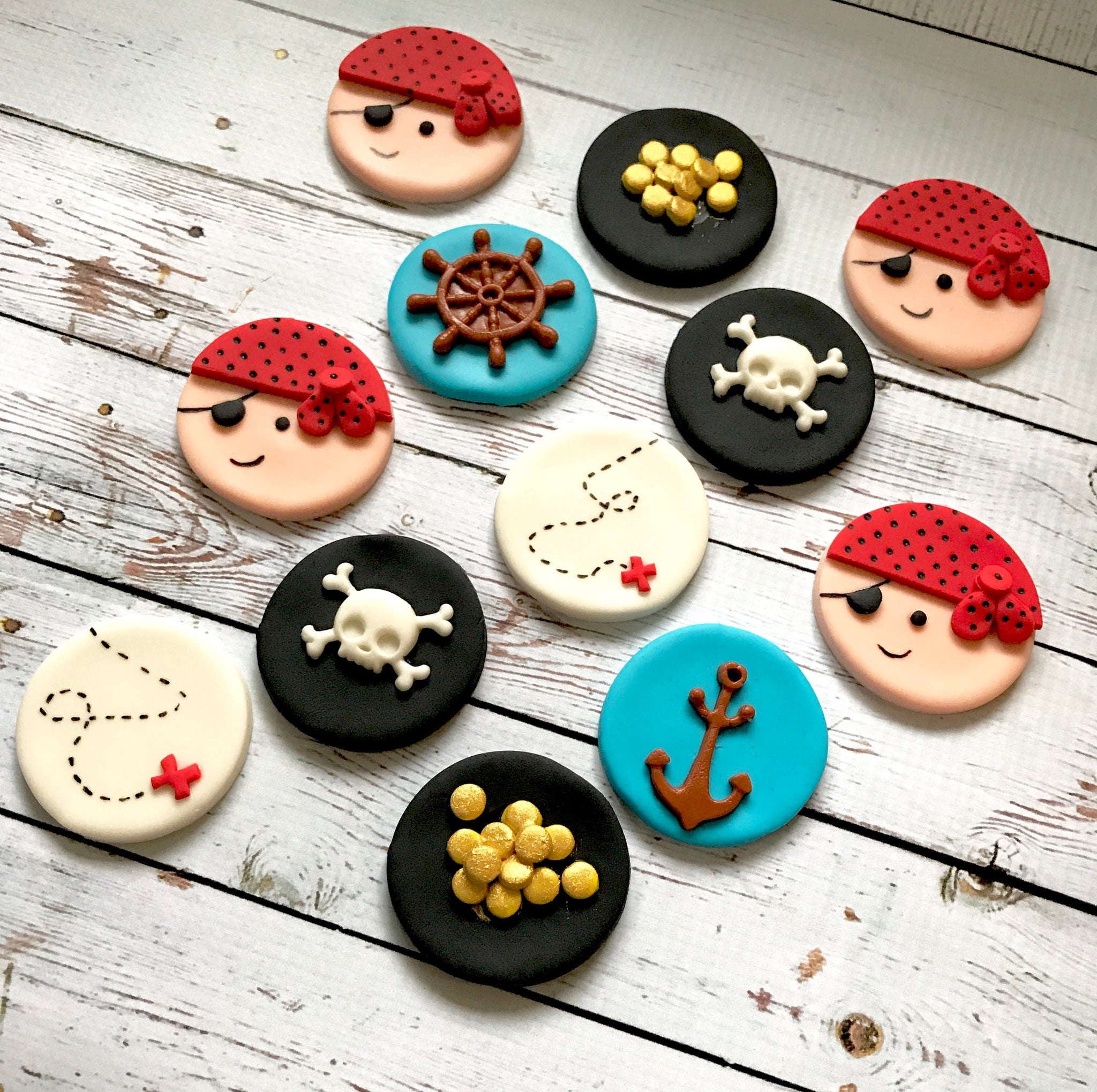 Edible Fondant PIRATE themed dozen Birthday cupcake toppers - Set of 12