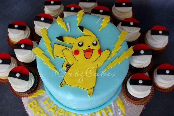 Stupendous Edible Fondant Pikachu And Thunderbolts Pokemon Inspired Themed Funny Birthday Cards Online Eattedamsfinfo