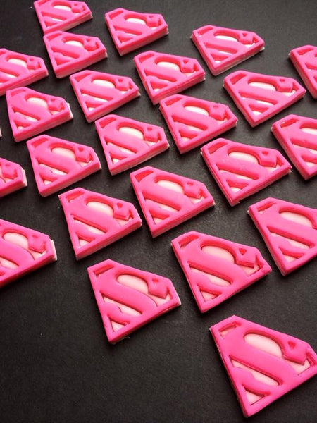 Edible Dozen fondant SUPERMAN / SUPERGIRL Superhero cupcake toppers - Set of 12