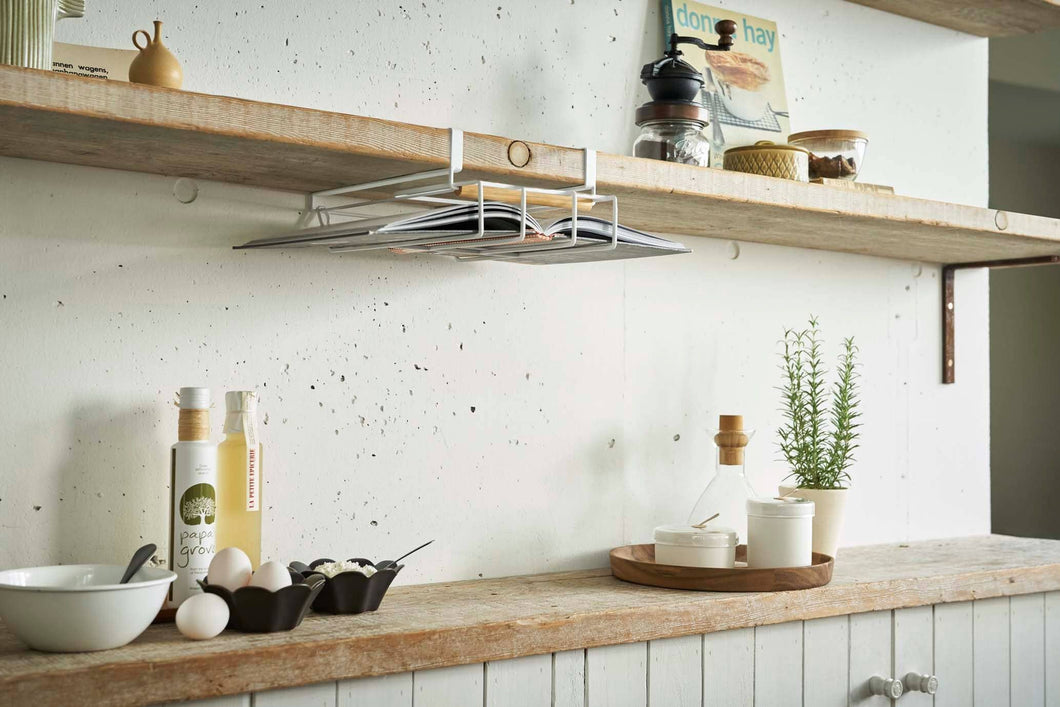 White Under-Shelf Tablet and Cookbook Holder