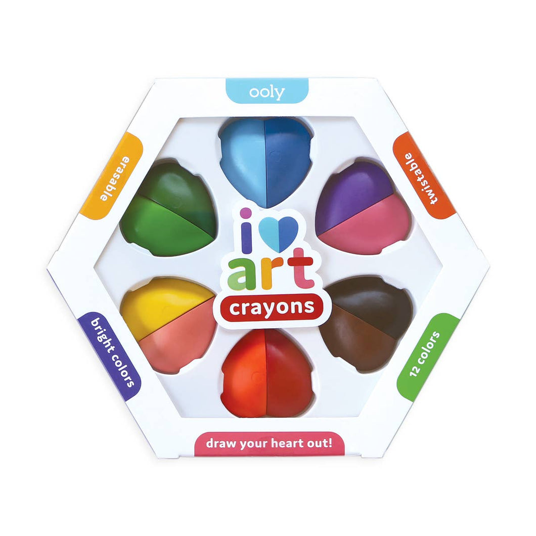 OOLY - I Heart Art Erasable Crayons - Set of 6 or 12 Colors