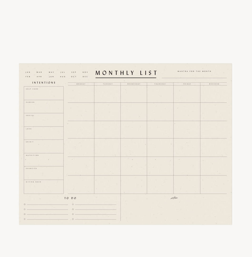 Wilde House Paper - Monthly List Pad