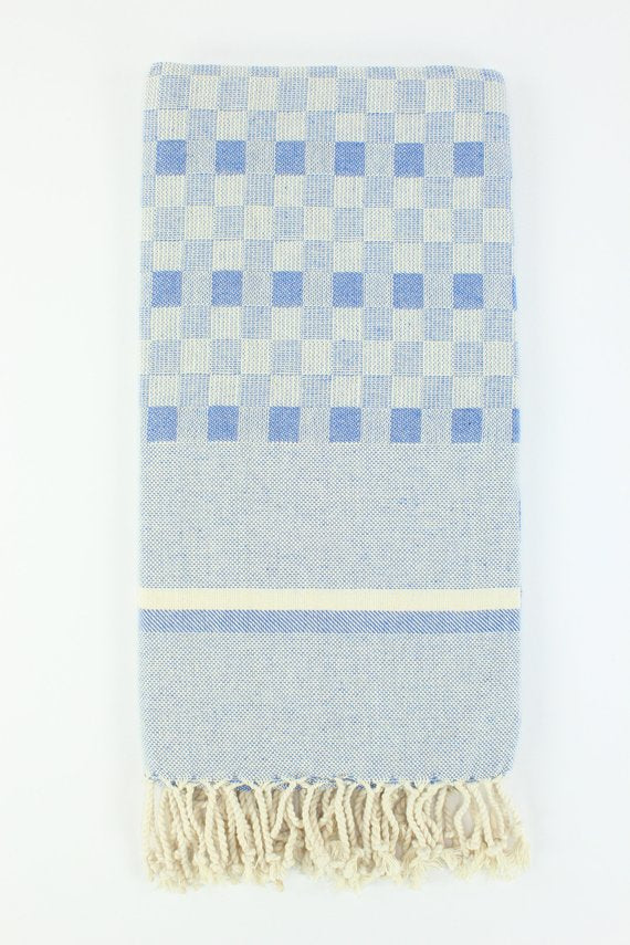 TURKISH LINEN & TOWELS, LLC - Blue - Premium Chequered Turkish Peshtemal Fouta Beach Spa Pool Towel