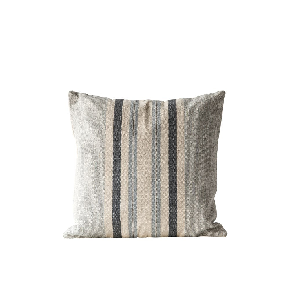 Woven Cotton Striped Pillow, Blue/Gray