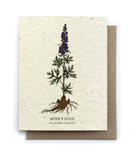 Load image into Gallery viewer, The Bower Studio - Monk's Hood Botanical Greeting Cards - Plantable Seed Paper