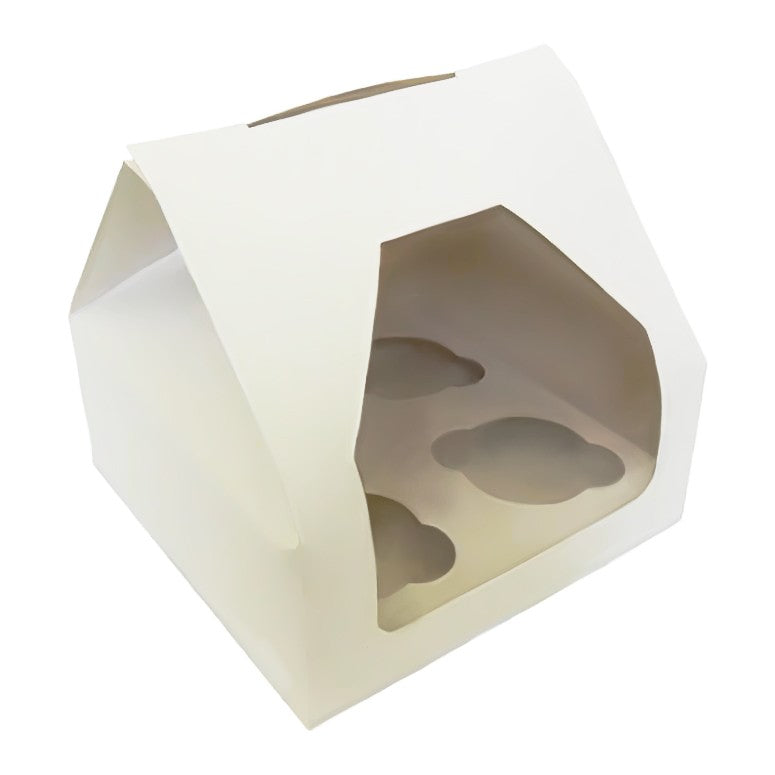 4 Cupcake Boxes with Window and Insert -100 PK - cake boxes, cupcake boxes, thecakeboxes