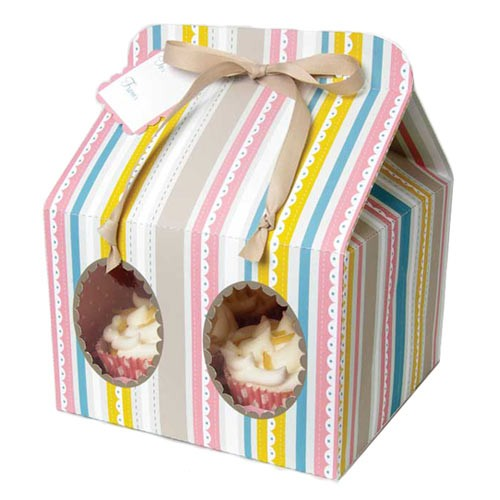 Cupcake Boxes for 4 with Stripes- 3 SAMPLES - cake boxes, cupcake boxes, thecakeboxes