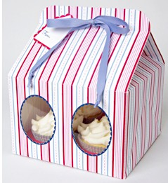 Cupcake Boxes for 4 Stripped Blue Pink - cake boxes, cupcake boxes, thecakeboxes
