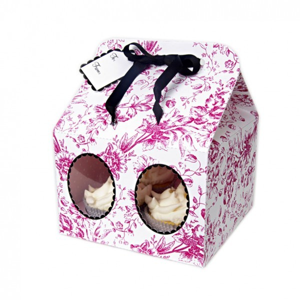 Pink Toile Cupcake Box Pink Flowers- Pk of 3 - cake boxes, cupcake boxes, thecakeboxes