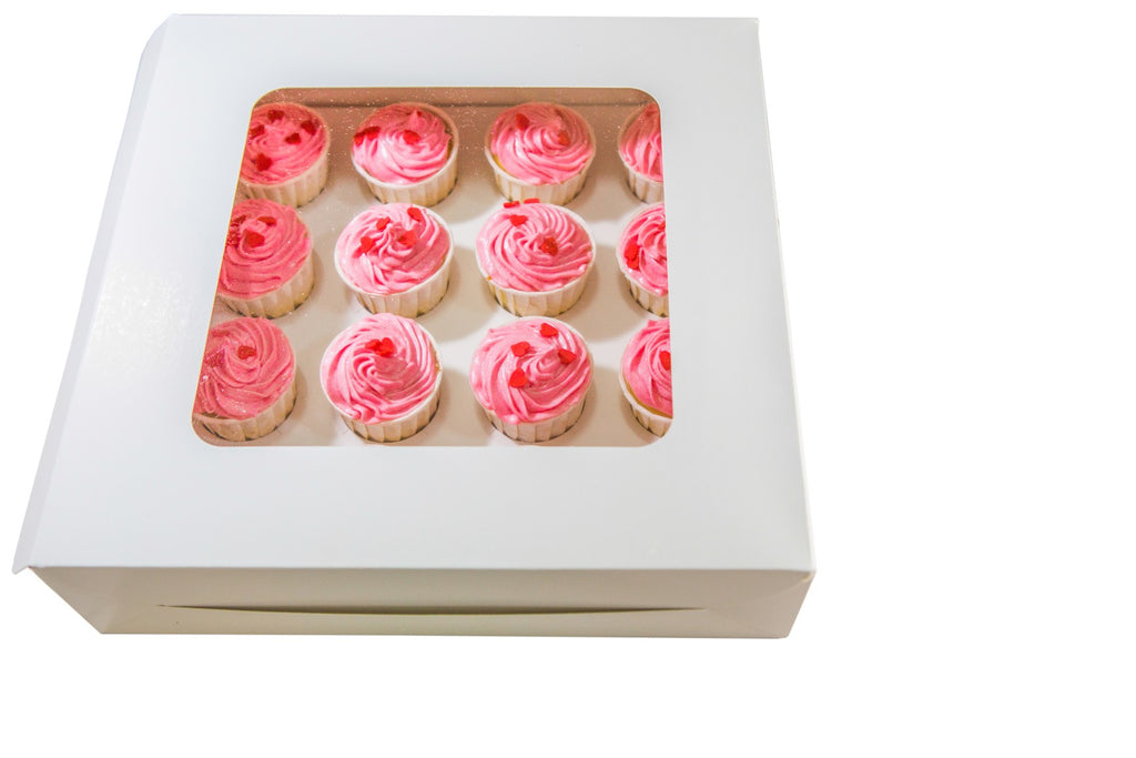 50  White Cupcake Boxes for 12 with window  (£0.87 each) - cake boxes, cupcake boxes, thecakeboxes