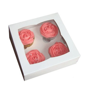 White Cupcake Boxes for 4 with Window - cake boxes, cupcake boxes, thecakeboxes