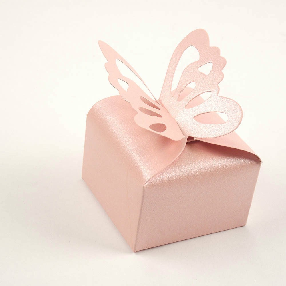 100 Pink Butterfly Wedding favour boxes - cake boxes, cupcake boxes, thecakeboxes