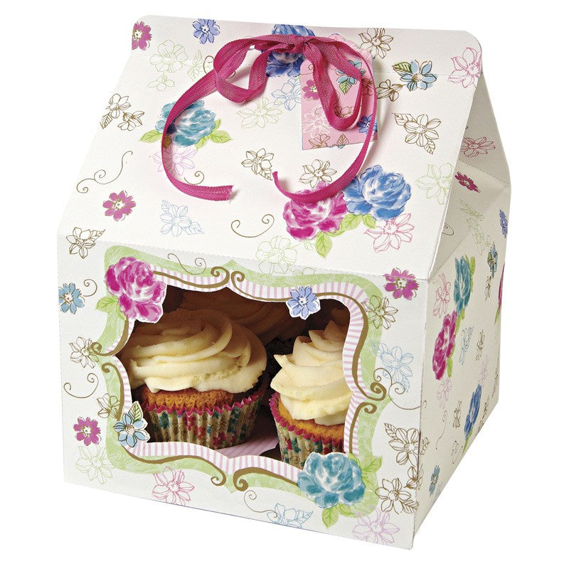 Cupcake  Boxes with flowers- 100 PACK - cake boxes, cupcake boxes, thecakeboxes